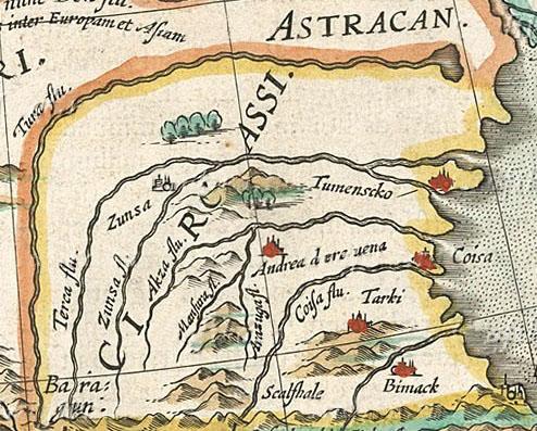 Карта Северной и Центральной Кумыкии в начале XVII века