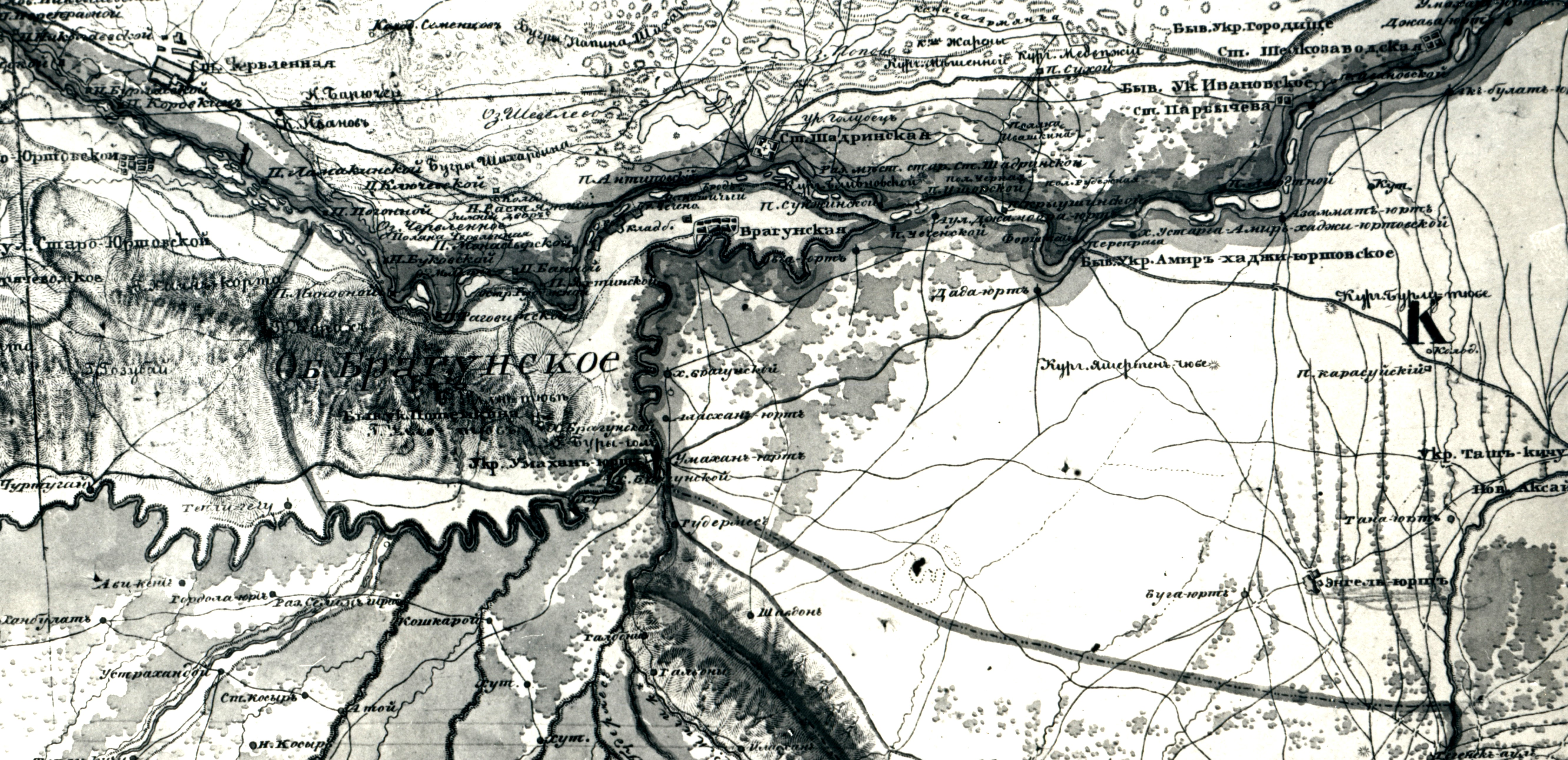 Карта территории Брагунского сельского общества (середина XIX века)