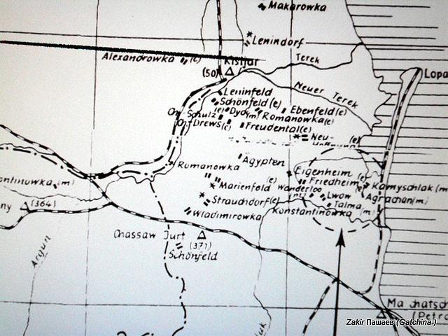 Карта немецких колоний в Северной Кумыкии