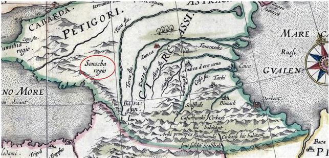 Европейская карта Кавказа XVII века (следует обратить внимание на преобладание на ней кумыкской топонимики)